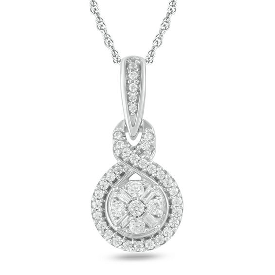 1/5 CT. T.w. Baguette and Round Diamond Frame Twist Pendant in 10