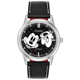 Citizen Eco-Drive® Mickey Mouse Strap Watch with Black Dial (Model: FE7060-05W)