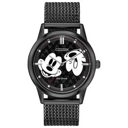 Citizen Eco-Drive® Mickey Mouse Black IP Mesh Watch with Black Dial (Model: FE7065-52W)