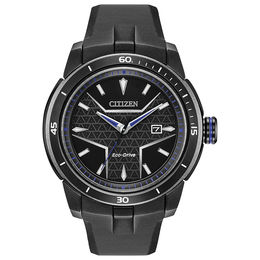 Men's Citizen Eco-Drive® Black Panther Black IP Strap Watch with Black Dial (Model: AW1615-05W)