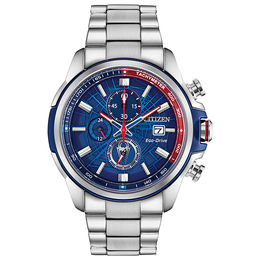 Men's Citizen Eco-Drive® Spider-Man Chronograph Two-Tone Watch with Blue Dial (Model: CA0429-53W)