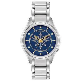 Ladies' Citizen Eco-Drive® Captain Marvel Crystal Accent Watch with Blue Dial (Model: EM0596-58W)