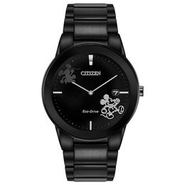 Men's Citizen Eco-Drive® Mickey Mouse Black IP Watch with Black Dial (Model: AU1068-50W)