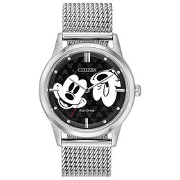 Citizen Eco-Drive® Mickey Mouse Mesh Watch with Black Dial (Model: FE7060-56W)