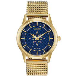 Ladies' Citizen Eco-Drive® Captain Marvel Gold-Tone Mesh Watch with Blue Dial (Model: FE7062-51W)