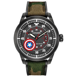 Men's Citizen Eco-Drive® Captain America Black IP Strap Watch with Black Dial (Model: AW1367-05W)