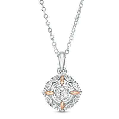 10k natural diamond pendant yellow and white gold small square jewelry two tone modern design