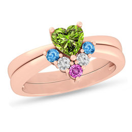 686069d48 Mother's Heart and Round Birthstone Two Piece Stackable Ring Set (2-6  Stones) ...