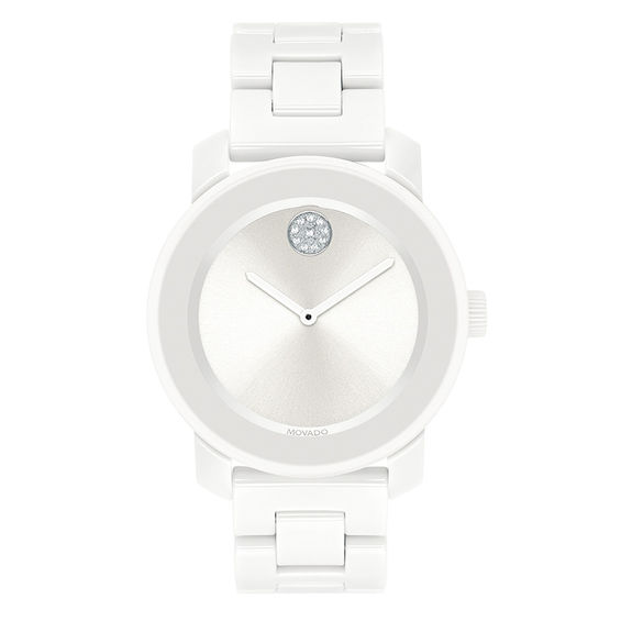 Ladies Movado Bold®Crystal Acccent White Ceramic Watch (Model: