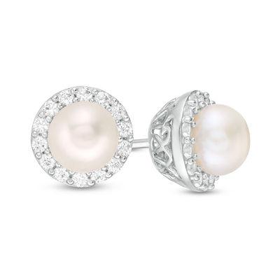 Sterling Silver Small Pearl Earrings Cubic Zirconia Pearl Earrings 6 MM Round Freshwater Pearl Pearl Stud Earrings White Pearl Stud