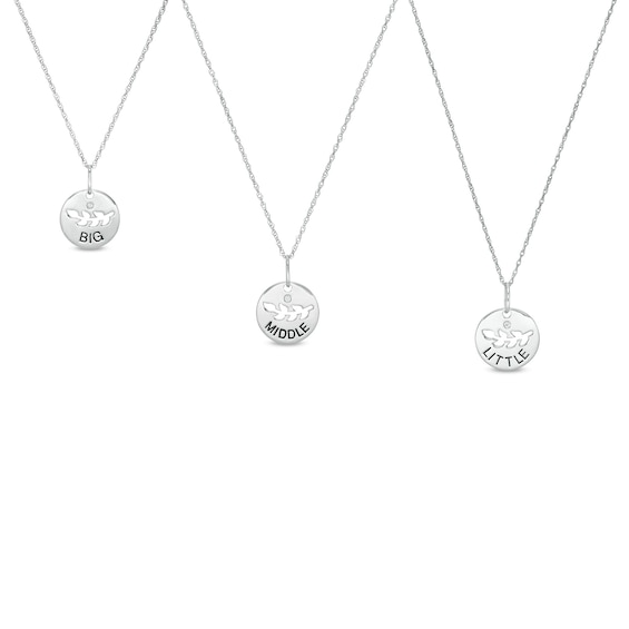 "1/20 CT. T.w. Diamond ""big"" ""middle"" ""little"" Sibling Disc Pendant Set in Sterling Silver"