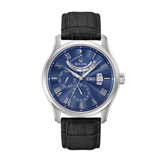 Mens Bulova Wilton Automatic Strap Watch with Blue Dial (Model: 9