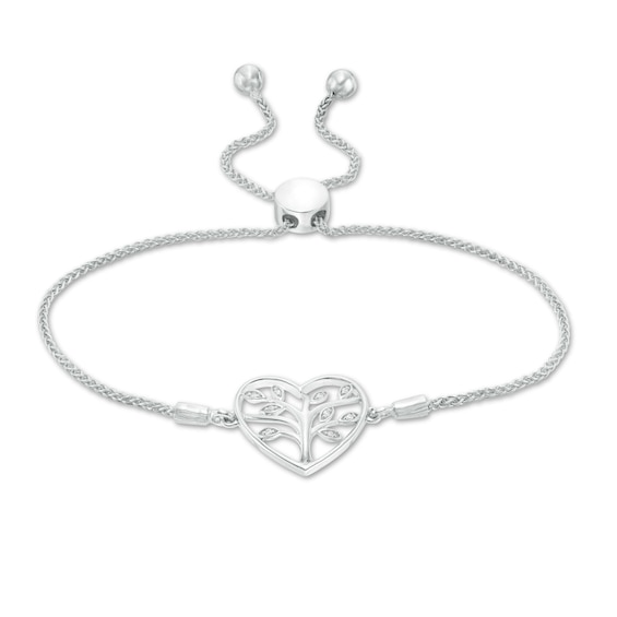 Diamond Accent Heart with Tree of Life Bolo Bracelet in Sterling Silver - 9.5""