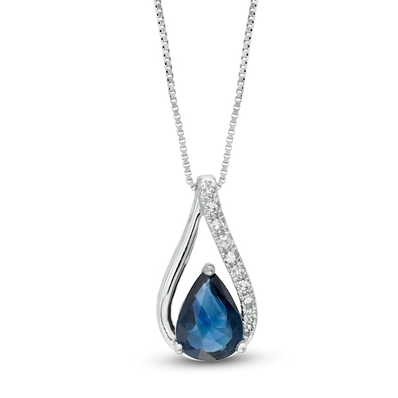 Pear-Shaped Blue Sapphire and 1/20 CT. T.w. Diamond Teardrop Pend