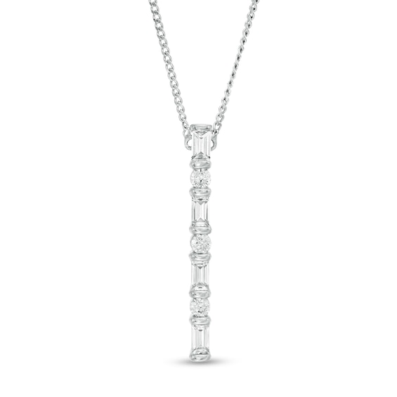 1/4 CT. T.w. Baguette and Round Diamond Vertical Bar Pendant in 1