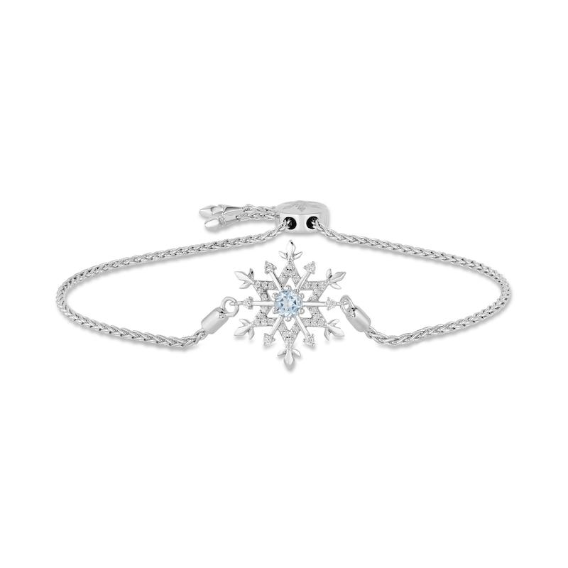 Enchanted Disney Elsa 4.0mm Aquamarine and 1/6 CT. T.W. Diamond Snowflake Bolo Bracelet in Sterling Silver - 9.0