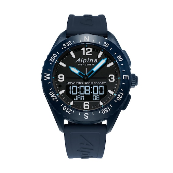Mens Alpina AlpinerX Blue Strap Watch with Black Dial (Model: Al-283Lbn5Naq6)
