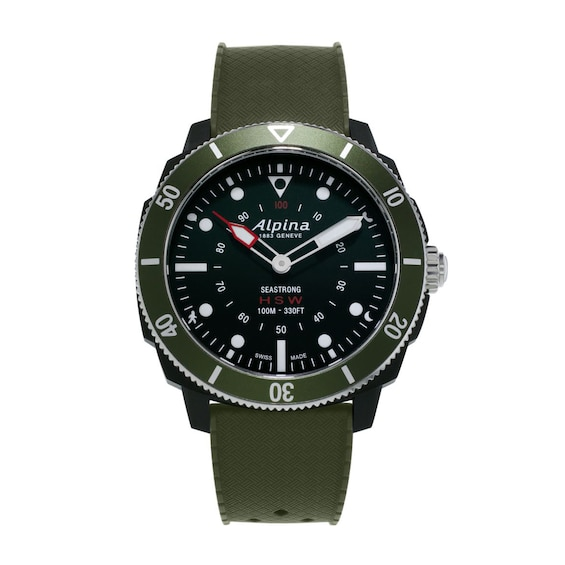 Mens Alpina Seastrong HSW Green Strap Watch with Black Dial (Mode